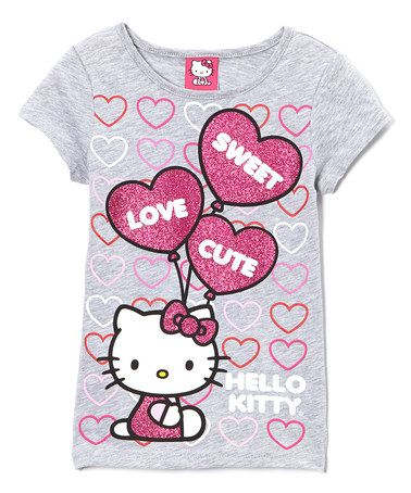This Gray & Pink 'Sweet Love Cute' Hello Kitty Tee - Girls is perfect! #zulilyfinds