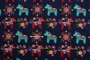 Scandinavian Swedish Navy Dala Horse Fabric Cotton Fabric | eBay