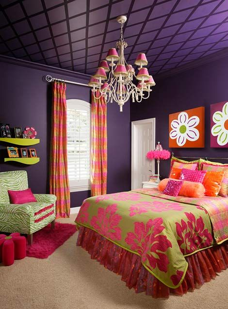 Different shades of the same colors the girls had in their last room. Dressers are already purple and pink so maybe we can add varied shades and possibly a bit more green. Maybe add some orange accent too like in this pic.