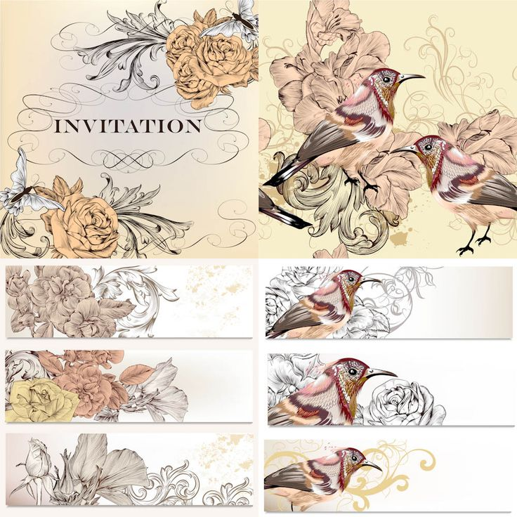 122 best wedding invitations cards backgrounds images on pinterest floral invitations and banner vector free for download and ready for print over 10000 stopboris Images