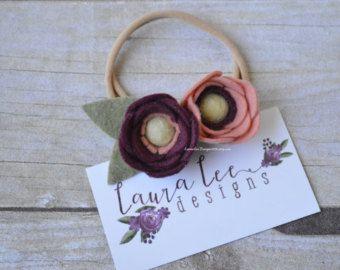 Fiore di feltro corona rosa cipria. Bambino di LovelyFeltShop