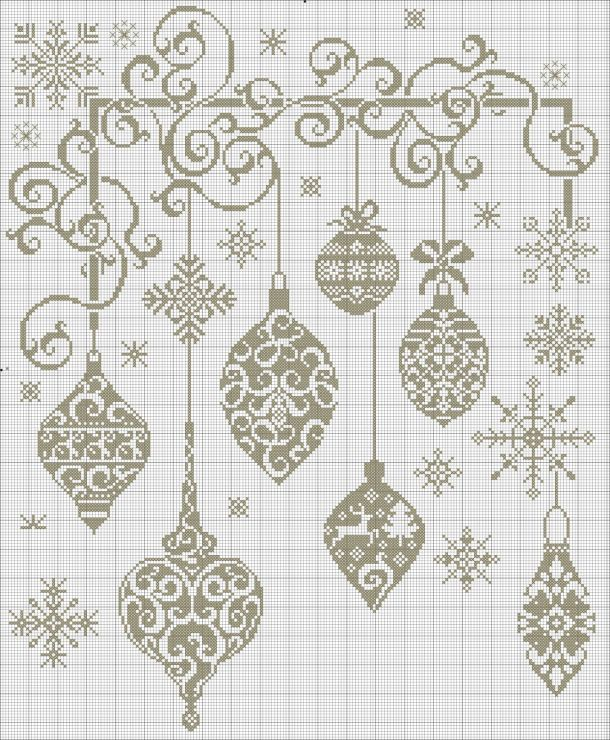 MonochromePoint, Free Crosses Stitches, Stitches Christmas, Cross Stitch, Christmas Baubles, Silver Strand, Christmas Ornaments, Stitches Pattern, Cross