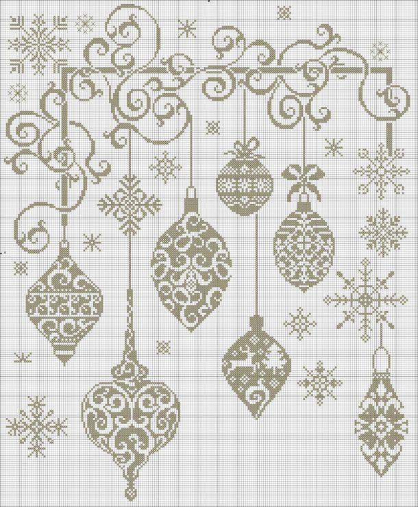 Palle decorazioni natale monocolore punto croce