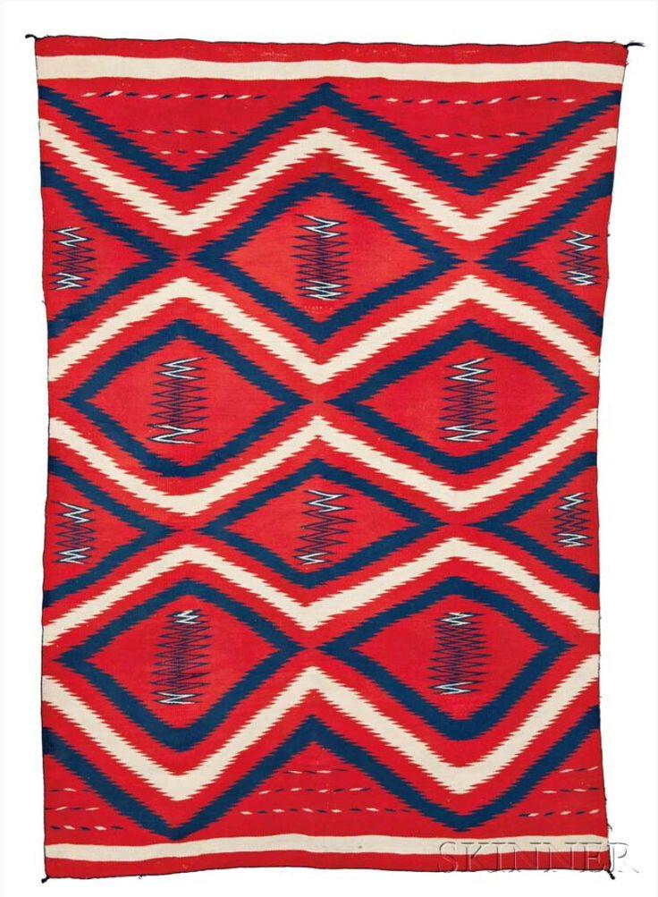 Классическое мужское одеяло в стиле серапе, Навахо. Период: 1870-1880. Размер 81 х 55 дюймов. Skinner.  American Indian & Ethnographic Arts - 2964B. Бостон, 01 декабря 2016  года.