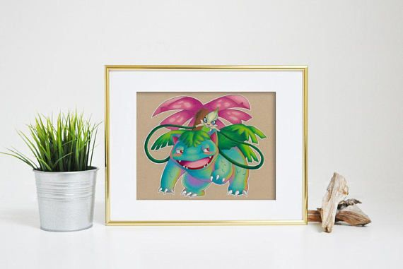 Venusaur Art Signed Print Pokemon Art Pokemon Geek Art
