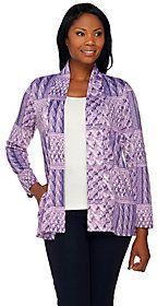 Denim & Co. Printed Heavenly Jersey Open Front Cardigan