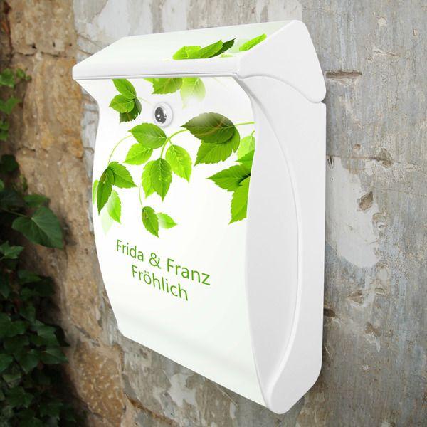 Wunschtext Briefkasten Weiß Motiv Blätterranke von banjado via dawanda.com