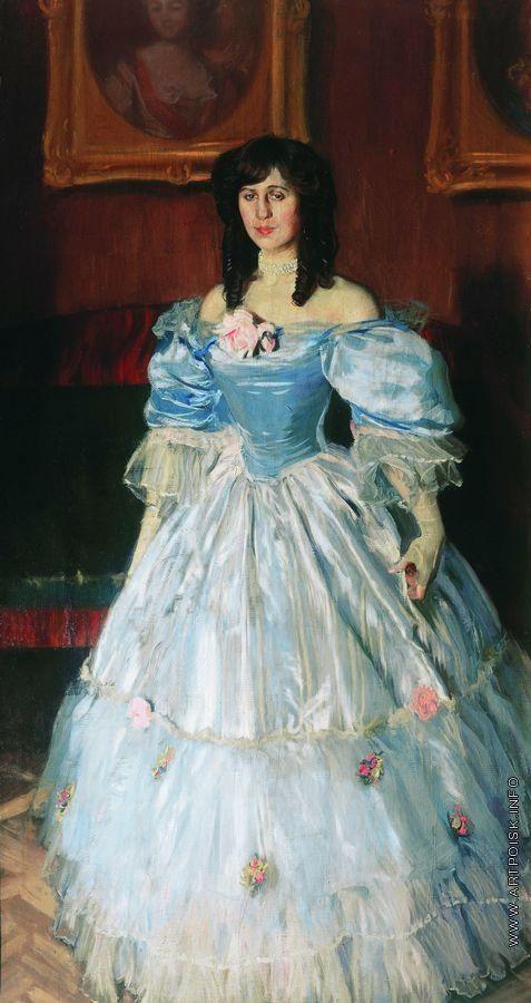КустодиевБ.М. Портрет женщины в голубом (Портрет П.М. Судковской)