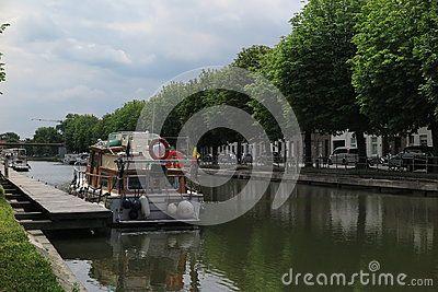 Picturesque canal in Bruges, Belgium.