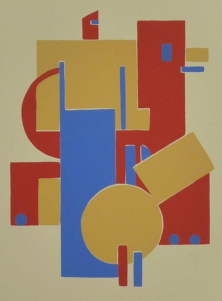 SANDOR BORTNYIK Six Hand Signed Silkscreens Album 1921 Hungarian Constructivism
