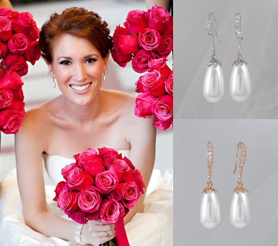 Rose Gold Pearl Bridal Earrings Pearl Drop by CrystalAvenues