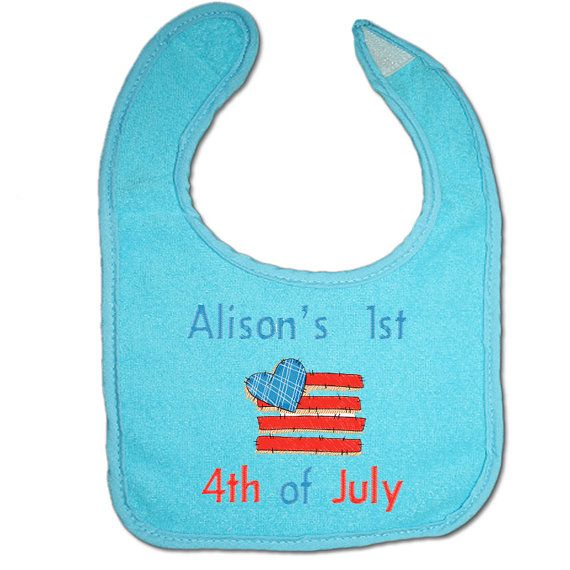Personalised Baby Bib 1st 4th of July Baby by BabysPreciousGifts