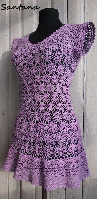 Gehaakt zomer  jurk  paars