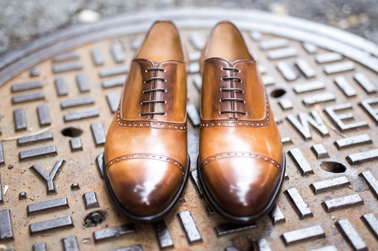 Paul Evans Handmade Italian Leather Men's Dress Shoes - The Brando Semi-Brogue Oxford - Aged Cognac