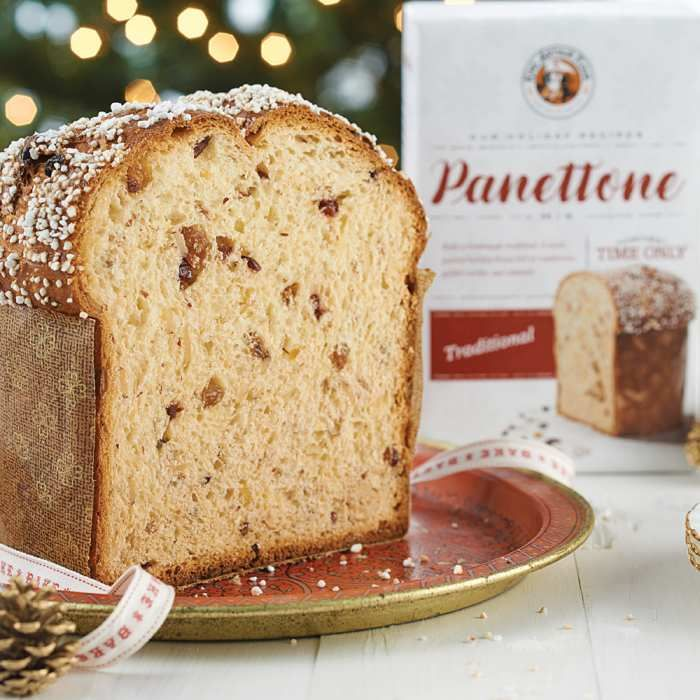 Bake and gift holiday sweet breads with this duo of essentials.    Our panettone mix bakes a traditional sweet Italian holiday bread filled with fruit and nuts. Mix comes with fruit, nuts, and yeast included: Simply add eggs and butter.    To add a holiday touch, bake your bread in our pretty gold and mahogany-brown paper baking pans. Micro-perforations in the paper pans release excess moisture for ideal texture and crust in your baked goods.