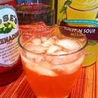 cherry vodka sour:  3 fluid ounces vodka  3 fluid ounces sweet and sour mix  1 tablespoon cherry grenadine syrup