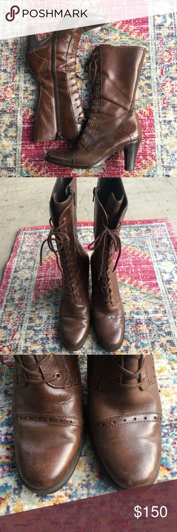 Paul Green brown lace up boots size 7 Paul Green brown lace up boots.  Paul green size is 4.5 which is equivalent to a US size 7.  Side zippers. Signs of wear at toe and heel.  No box Paul Green Shoes Heeled Boots