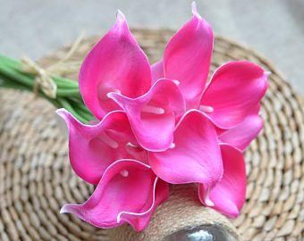 10 Hot Pink Fuchsia Calla Lilies Real Touch Flowers For Silk Wedding Bouquets, Centerpieces, Wedding Decorations