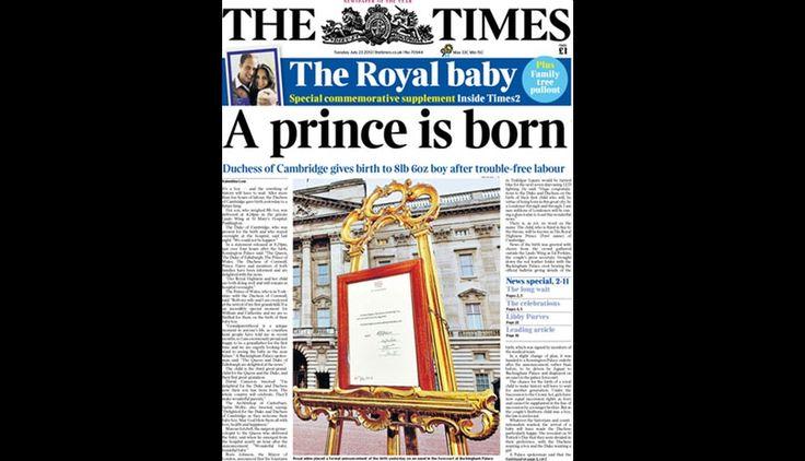Portadas de diarios internacionales anunciando el nacimiento del 'bebé real'. #Trome