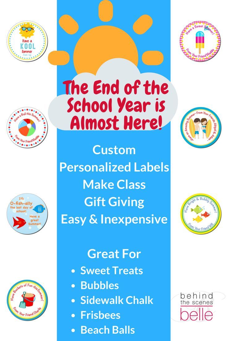 Behind the scenes bells offer custom personalized labels to make class giving easy and inexpensive