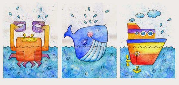 szuflada z rysunkami: Krab wieloryb i statek