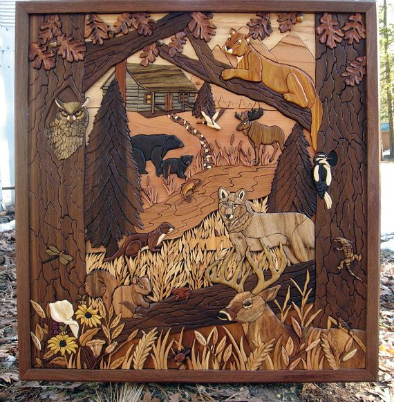 Custom Intarsia Wood Art Home by RCCustomWoodArt on Etsy