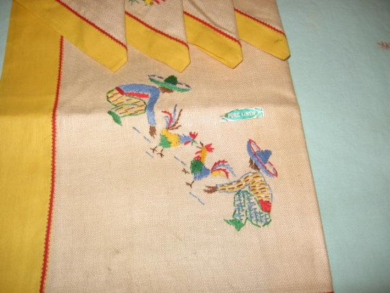 Vintage mexican embroidered tablecloth and napkins