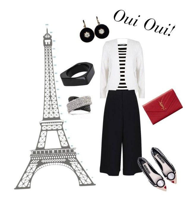 French look, stripped shirt, wide pants, gaucho pants, stinavilla, wardrobe consultant, personal stylist  French retro by cricri123 on Polyvore featuring polyvore, fashion, style, Dolce&Gabbana, River Island, TIBI, Alice + Olivia, Yves Saint Laurent, Marni, Mark Broumand, DOMESTIC and clothing