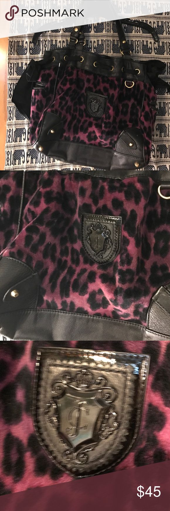 Leopard print purse Juicy Couture purple and black leopard print bag, some signs of wear but in great condition Juicy Couture Bags Shoulder Bags