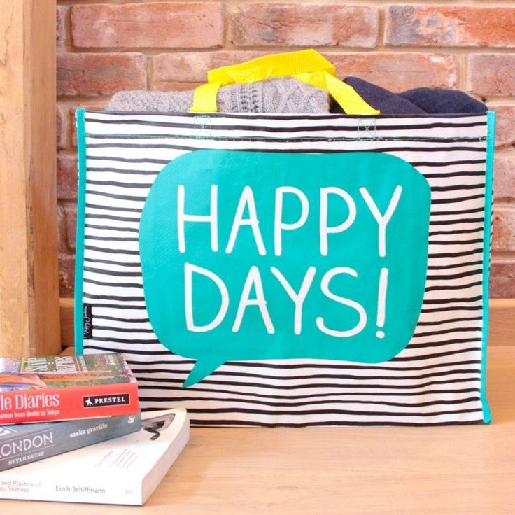 'happy days' shopper tote by lisa angel homeware and gifts | notonthehighstreet.com
