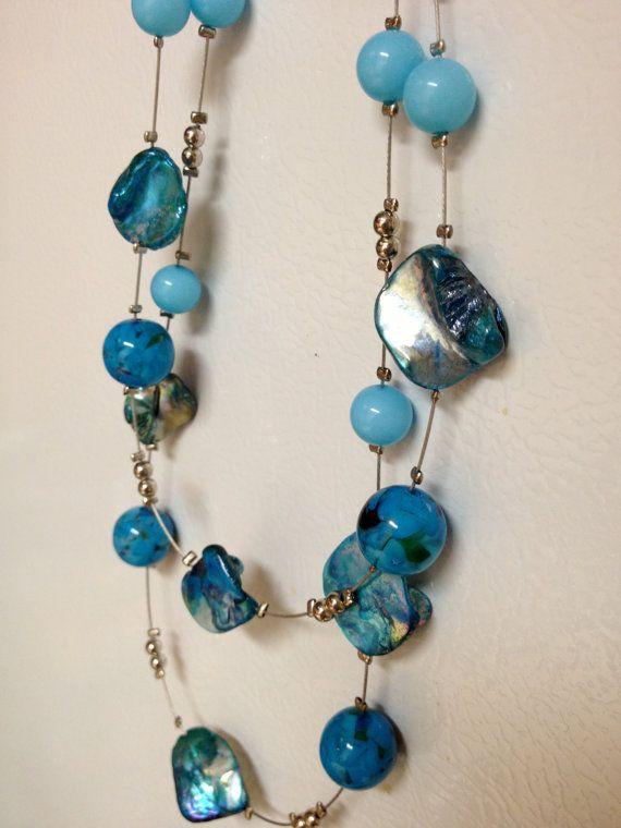 Turquesa aqua verde azulado plata collar joyería por ThePeachPoppy