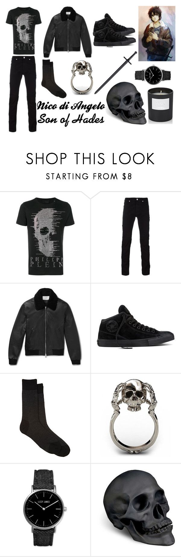 """""""Nico di Angelo, Son of Hades"""" by percy123jackson ❤ liked on Polyvore featuring Philipp Plein, Versace, Converse, Barneys New York, Lizzy James, L'Objet, men's fashion, menswear, NicoDiAngelo and heroesofolympus"""