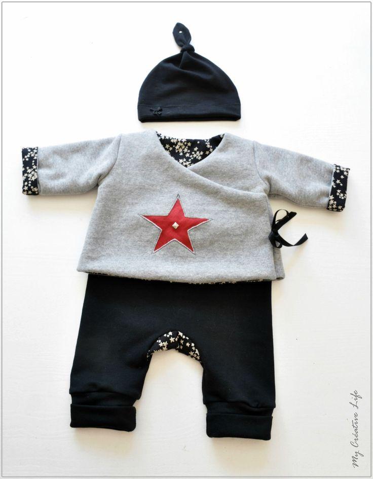 Ensemble bébé, brassière / kimono, sarouel et bonnet en molleton et jersey, gris, noir et rouge