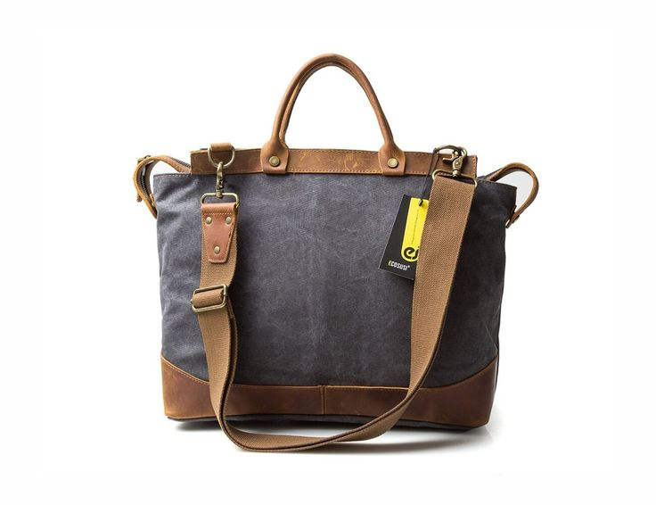 Dark grey canvas & leather bag for your weekend travel in vintage style
