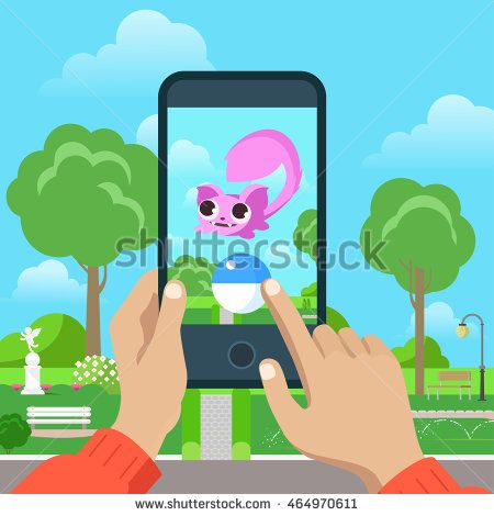 Flat Pokemon mobile game vector illustration. Smartphone in human hands, catch dragon. MMOG gaming concept.