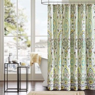 Update your bathroom while protecting your floor from flooding when you shower with this elegant shower curtain. A bold, colorful Ogee print adorns the curtain, allowing it to serve as a statement pie