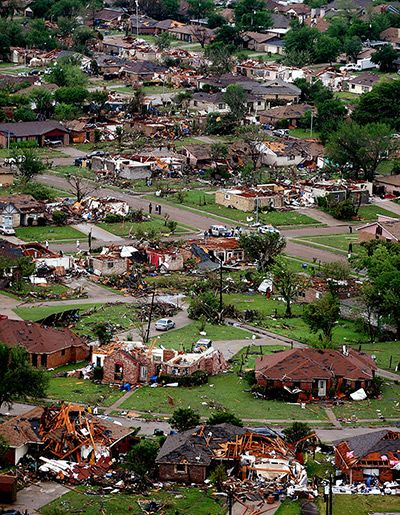 April 3, 2012 - Homes in Lancaster, TX. destroyed by a tornado that tore through the town