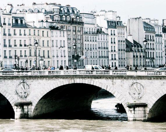 Paris France Photo - Pont Saint Michel Photograph - 8x10 Parisian Print - White Home Decor - Bridge - French Architecture - Elegant Wall Art. $30.00, via Etsy.