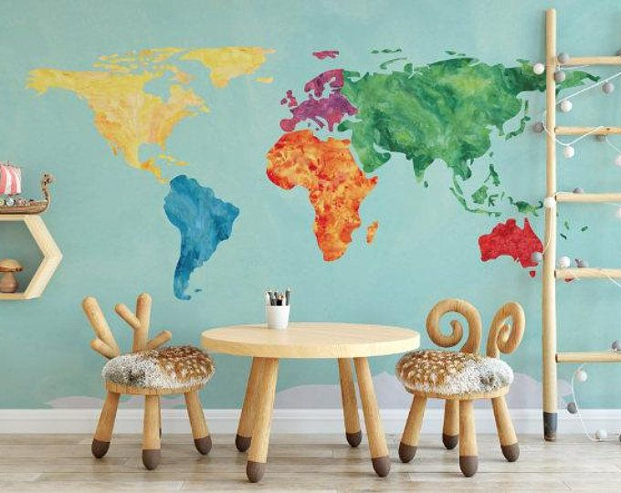 Rainbow Watercolor Effect World Map Peel and Stick