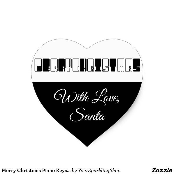 Merry Christmas Piano Keys Typography #blackandwhite #pianist #musician #heart #stickers #christmas