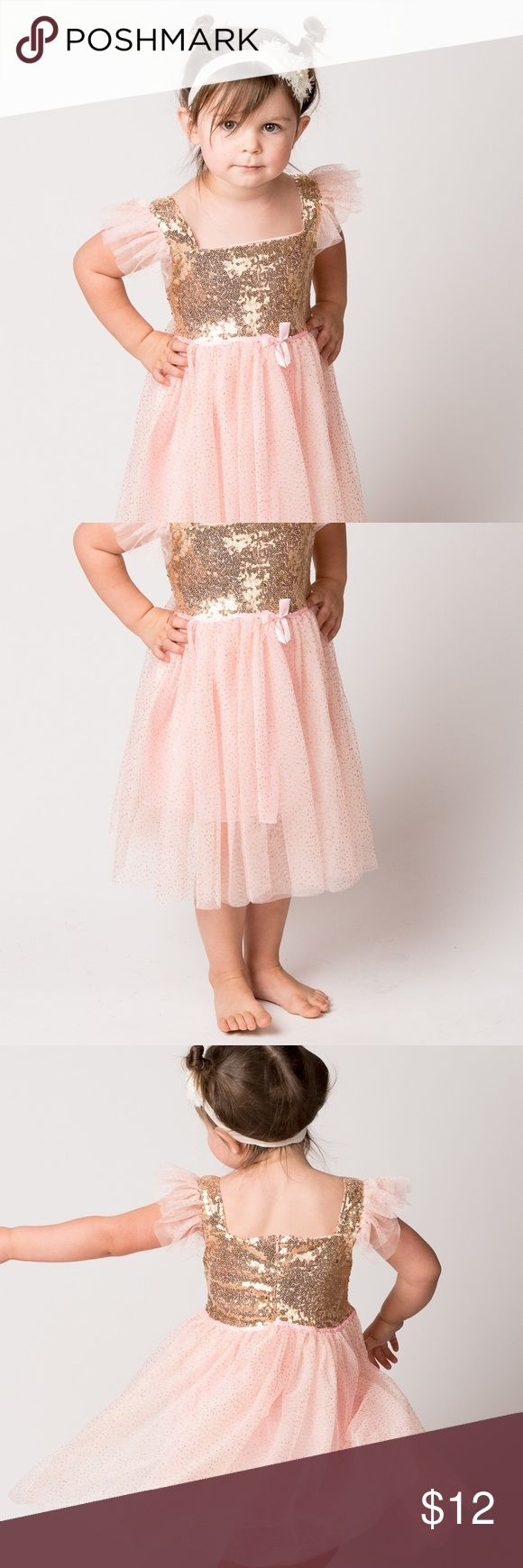 Sparkly Gold and Pink Princes Dress Sparkles and Glitter is what makes this dress stand out!   Every girl will feel like a Princess in this dressd.  Pretty for photos or dress up time. We are overstocked so we can offer this dress below wholesale price ! The Ruffled Bum Dresses
