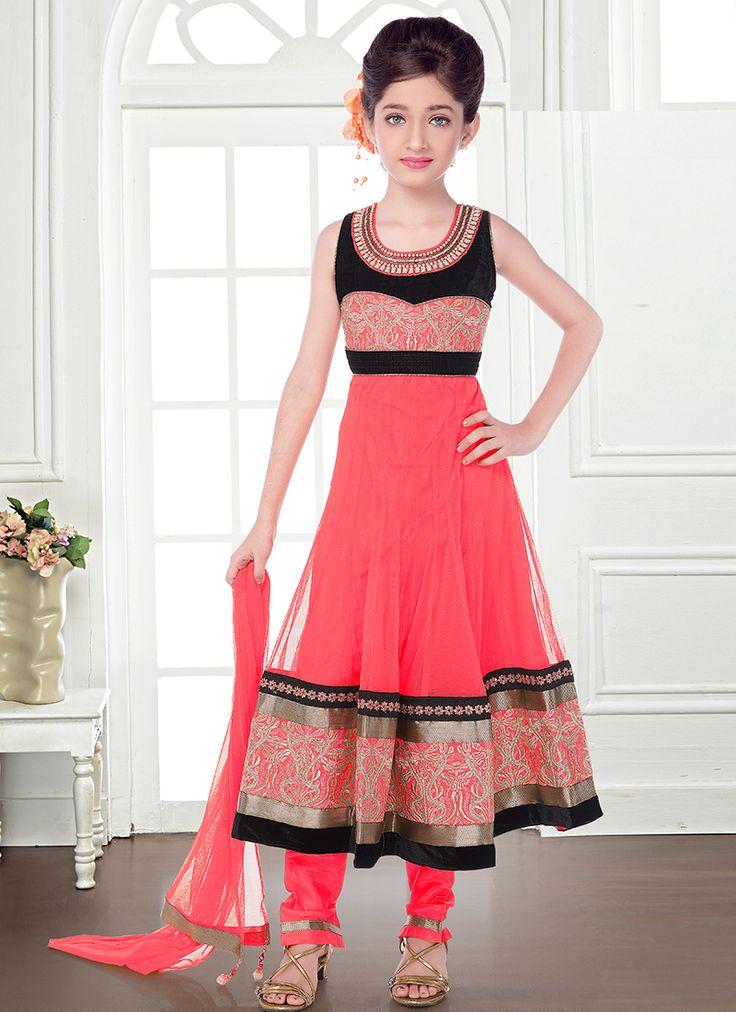 Immaculate Net Peach Kids Wear Anarkali Salwar Suit