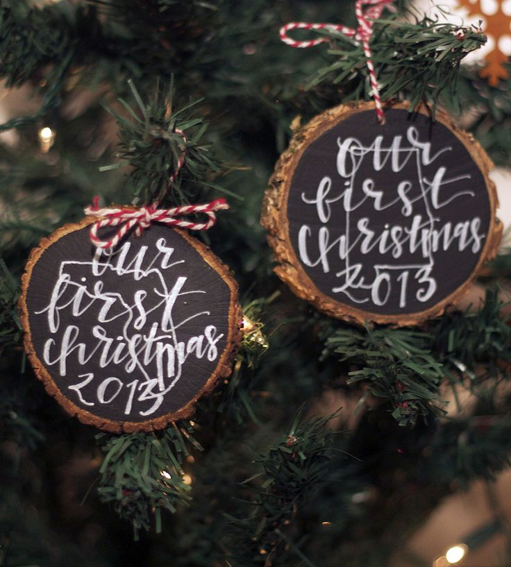 Our First Christmas 2014 Wood Ornament | For the newlyweds in your life, this first Christmas ornament ... | Holiday Ornaments