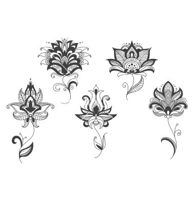 Persian lace gray flowers in paisley style vector lotus henna tattoo - by Seamartini on VectorStock®