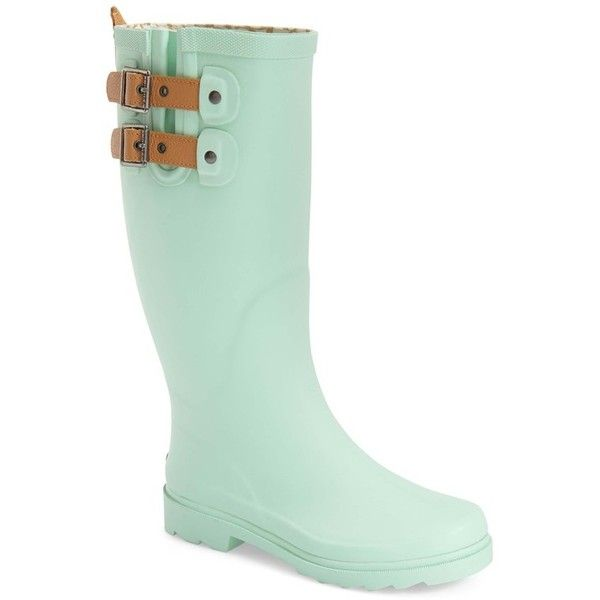 "Chooka 'Top Solid' Rain Boot, 1"" heel (£36) ❤ liked on Polyvore featuring shoes, boots, mid-calf boots, mint, real leather boots, mint green rain boots, lined rain boots, mid calf leather boots and shearling-lined leather boots"