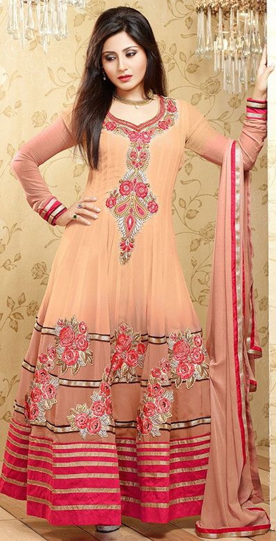 USD 31.87 Light Salmon Georgette Floor Length Anarkali Salwar Kameez 43167