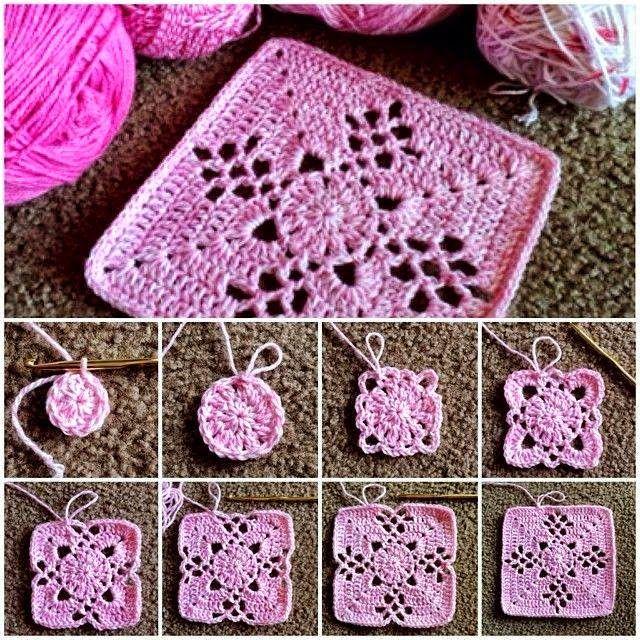 Crochet y dos agujas granny al crochet con paso a paso - Aplicaciones de crochet para colchas ...