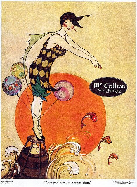 "Marjory C. Woodbury, McCallum Hosiery, 1917 From Taschen's ""All-American Ads 1900-1919"".    Beautiful Century blog"
