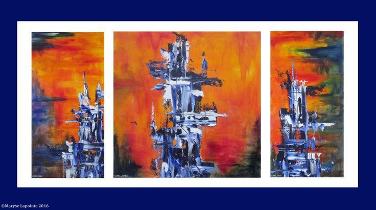 #totem, Triptyque Les Totems bleus, Huiles sur papier 16 x 32 po. (40.5 x 81 cm) 400$ (279 euros) non encadré