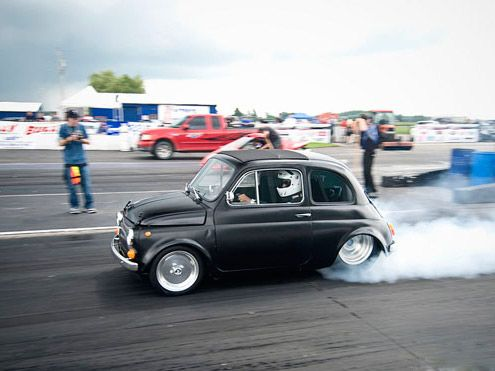 """Fiat 500 """"Bambina"""" dragster. 427 cu in, 725 hp V8 (we think). Mama mia! Pictured racing at CSCS Xtreme Tuner Challenge, Toronto Motorsports Park, Cayuga in August 2009"""